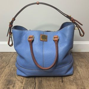 Dooney and Burke blue pebbles leather bucket bag